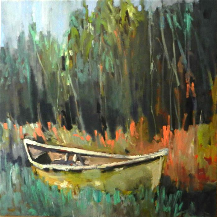Discover Original Art by Mary Pratt | Canoe oil painting | Art for Sale Online at UGallery
