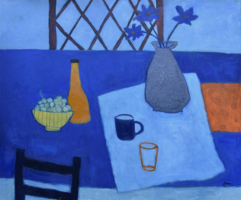 Discover Original Art by Feng Biddle | Blue Still Life oil painting | Art for Sale Online at UGallery