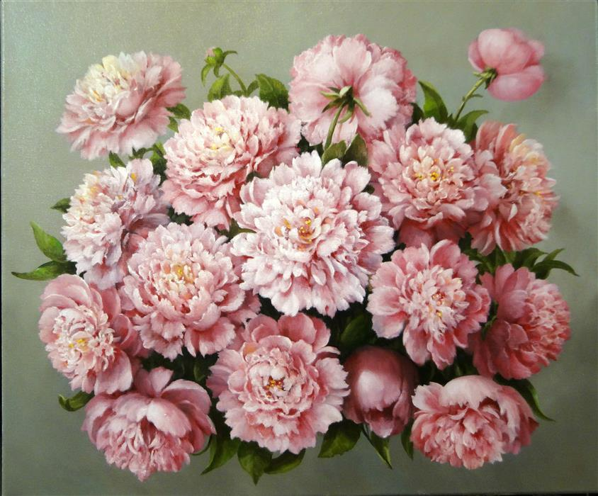 Original art for sale at UGallery.com | Pink Peonies by NIKOLAY RIZHANKOV | $975 | Oil painting | 20' h x 24' w | http://www.ugallery.com/oil-painting-pink-peonies