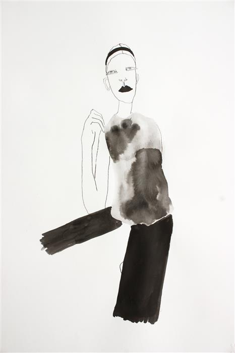 Original art for sale at UGallery.com | Girl with Headband by FRIDA WANNERBERGER | $300 | Ink artwork | 24.4' h x 16.5' w | http://www.ugallery.com/ink-artwork-girl-with-headband