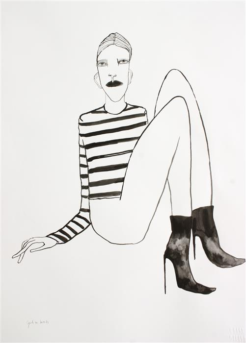 Original art for sale at UGallery.com | Girl with Boots by FRIDA WANNERBERGER | $275 | Ink artwork | 23.4' h x 16.5' w | http://www.ugallery.com/ink-artwork-girl-with-boots