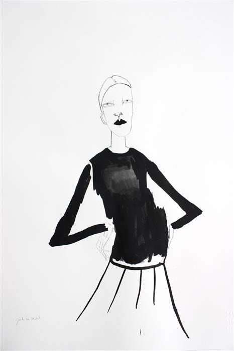 Original art for sale at UGallery.com | The Girl with the Skirt by FRIDA WANNERBERGER | $275 | Ink artwork | 23.4' h x 16.5' w | http://www.ugallery.com/ink-artwork-the-girl-with-the-skirt