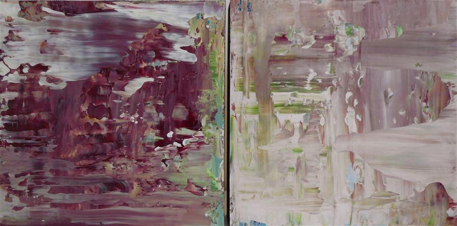 Discover Original Art by Lisa Carney | Plum Paradise (Diptych) acrylic painting | Art for Sale Online at UGallery