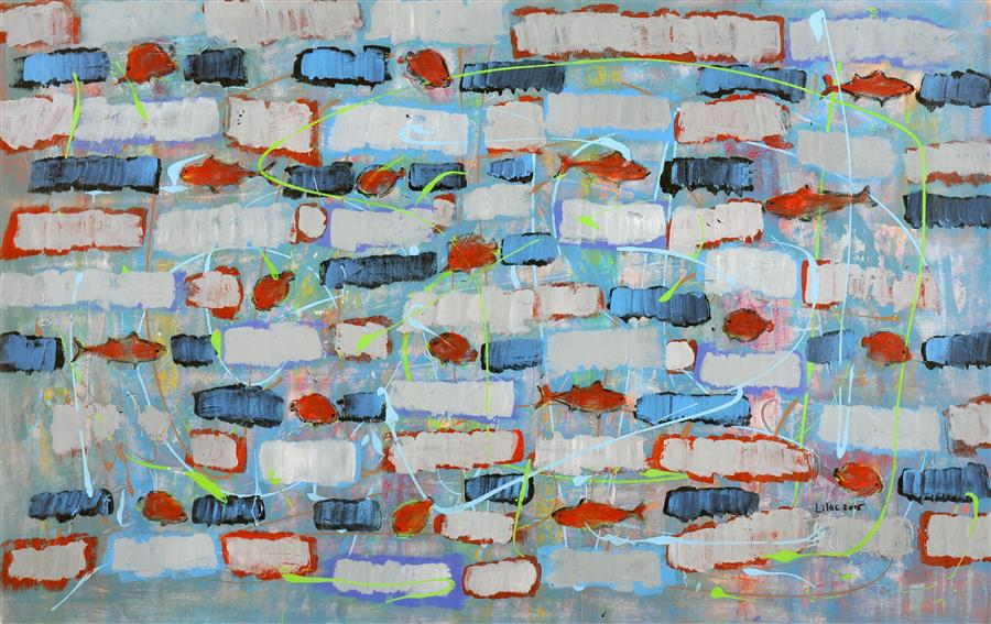 Original art for sale at UGallery.com | Impasse by LILAC ABRAMSKY-ARAZI | $1,700 | Acrylic painting | 29' h x 45.25' w | http://www.ugallery.com/acrylic-painting-impasse