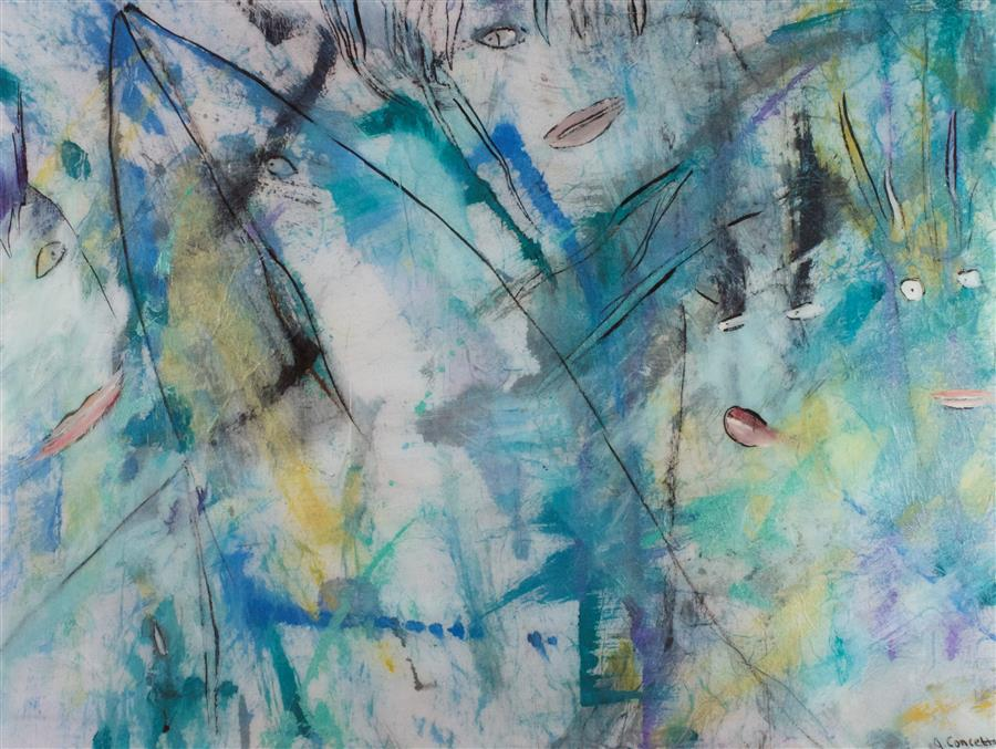 Original art for sale at UGallery.com | Whale Watching in Juneau by J.  CONCETTA | $875 | Mixed media artwork | 18' h x 24' w | http://www.ugallery.com/mixed-media-artwork-whale-watching-in-juneau