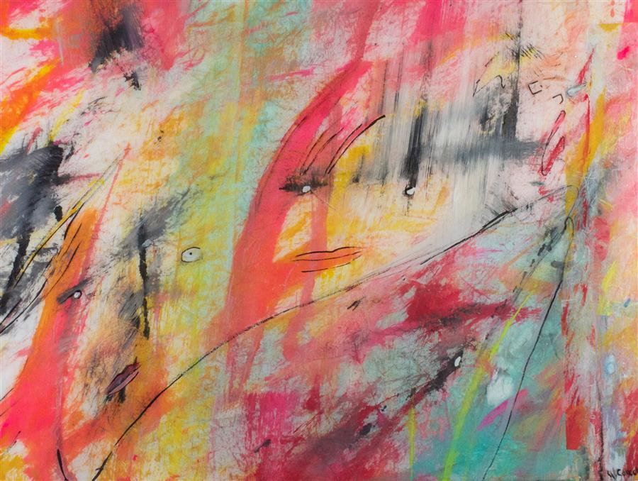 Original art for sale at UGallery.com | Purely for Play by J.  CONCETTA | $875 | Mixed media artwork | 18' h x 24' w | http://www.ugallery.com/mixed-media-artwork-purely-for-play