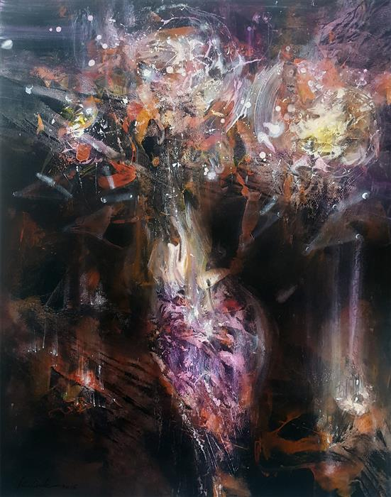 Original art for sale at UGallery.com | Incandescent Cosmic Still Life by KLOSKA OVIDIU | $975 | Acrylic painting | 32' h x 25' w | http://www.ugallery.com/acrylic-painting-incandescent-cosmic-still-life