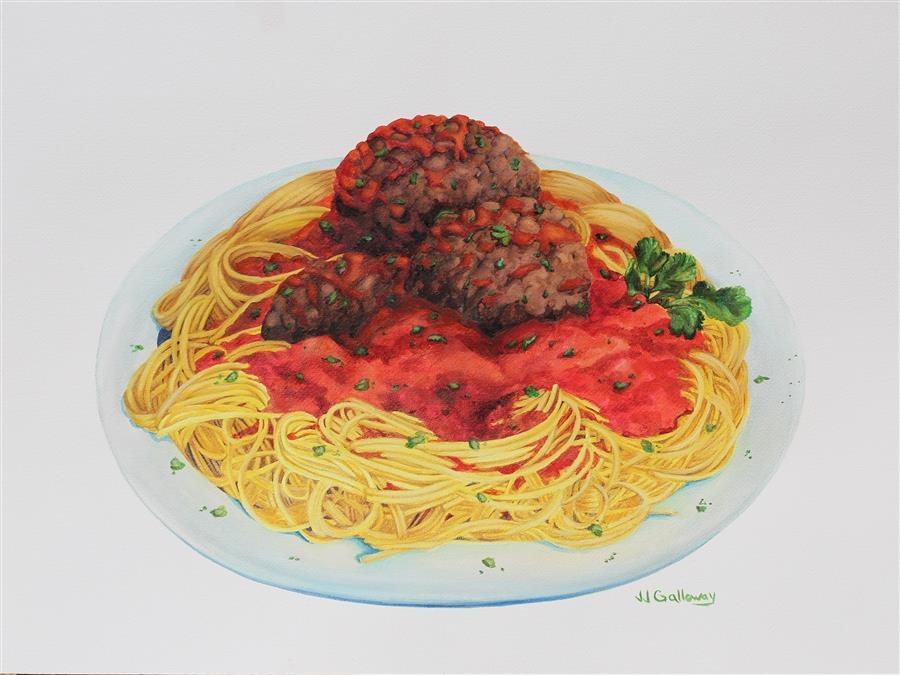 Original art for sale at UGallery.com | With Meatballs on Top by JJ GALLOWAY | $625 | Watercolor painting | 18' h x 24' w | http://www.ugallery.com/watercolor-painting-with-meatballs-on-top