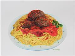 Cuisine art,Representational art,watercolor painting,With Meatballs on Top
