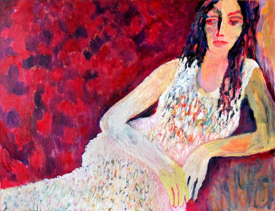 Original art for sale at UGallery.com | Woman in White by PETR LDIN | $2,525 | Oil painting | 39.3' h x 55.1' w | http://www.ugallery.com/oil-painting-woman-in-white
