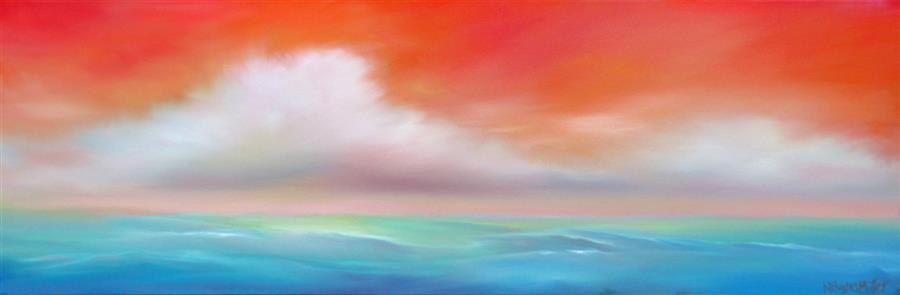 Original art for sale at UGallery.com | Floating by NANCY HUGHES MILLER | $525 | Oil painting | 8' h x 24' w | http://www.ugallery.com/oil-painting-floating