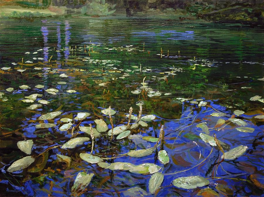 Original art for sale at UGallery.com | Trumbull Lake Shallows by ONELIO MARRERO | $825 | Oil painting | 18' h x 24' w | http://www.ugallery.com/oil-painting-trumbull-lake-shallows