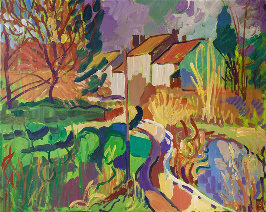 Original art for sale at UGallery.com | Village with Pond by ROBERT HOFHERR | $1,025 | Acrylic painting | 24' h x 30' w | http://www.ugallery.com/acrylic-painting-village-with-pond