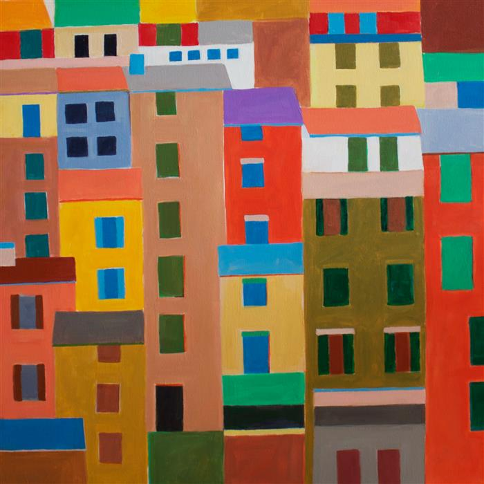 Original art for sale at UGallery.com | Cinque Terre Houses by TONI SILBER-DELERIVE | $1,925 | Acrylic painting | 30' h x 30' w | http://www.ugallery.com/acrylic-painting-cinque-terre-houses