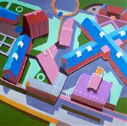 Abstract art,Architecture art,Travel art,Representational art,Modern  art,acrylic painting,Polish Prison