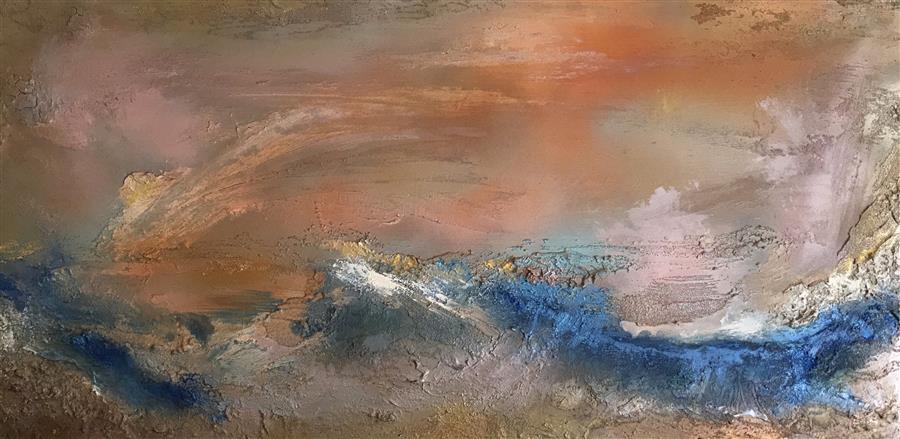 Original art for sale at UGallery.com | Treasure VI by MICHELE MORATA | $2,950 | Mixed media artwork | 24' h x 48' w | http://www.ugallery.com/mixed-media-artwork-treasure-vi