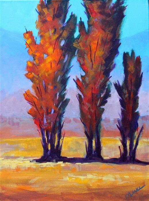 Original art for sale at UGallery.com | Autumn Trio by NANCY MERKLE | $400 | Acrylic painting | 16' h x 12' w | http://www.ugallery.com/acrylic-painting-autumn-trio