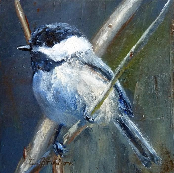 Original art for sale at UGallery.com | Chickadee, Softly Lit by GARY BRUTON | $225 | Oil painting | 4' h x 4' w | http://www.ugallery.com/oil-painting-chickadee-softly-lit