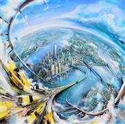 Architecture art,Expressionism art,Fantasy art,Representational art,acrylic painting,Dream of a Bridge