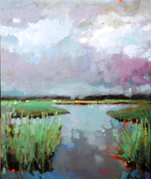 Original art for sale at UGallery.com | Marsh in Summer by MARY PRATT | $1,850 | Oil painting | 36' h x 30' w | http://www.ugallery.com/oil-painting-marsh-in-summer