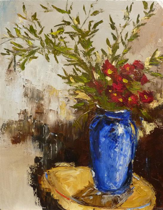 Discover Original Art by Judy Mackey | Bamboo Leaves and Blue Vase oil painting | Art for Sale Online at UGallery