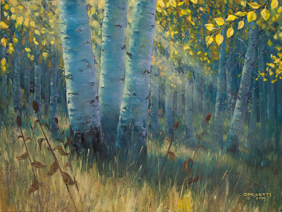 Original art for sale at UGallery.com | Three Sisters - Spirit of the Forest by ROBERT CORSETTI | $1,775 | Oil painting | 30' h x 40' w | http://www.ugallery.com/oil-painting-three-sisters-spirit-of-the-forest