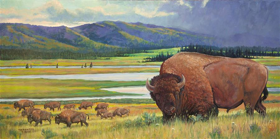 Discover Original Art by Robert Corsetti | Yellowstone Bison oil painting | Art for Sale Online at UGallery