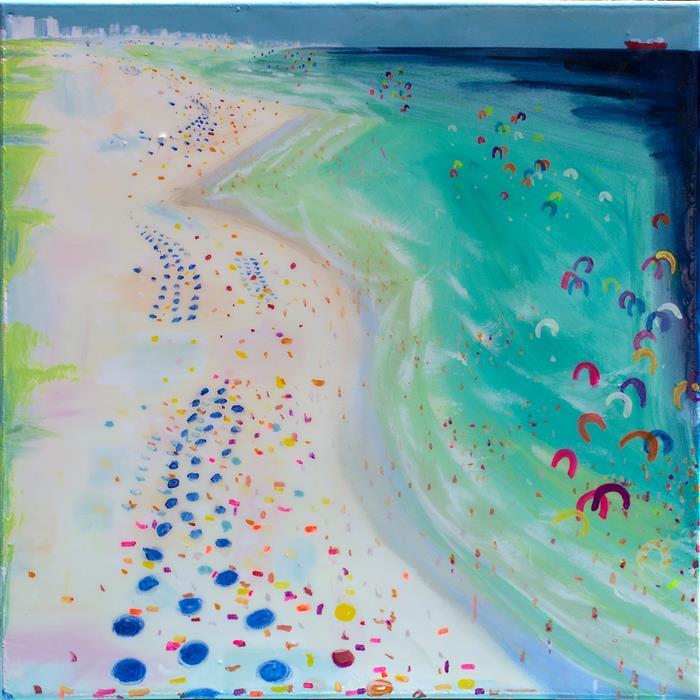 Original art for sale at UGallery.com | Kite Board Beach #2 by JOE DAVIS | $875 | Acrylic painting | 24' h x 24' w | http://www.ugallery.com/acrylic-painting-kite-board-beach-2
