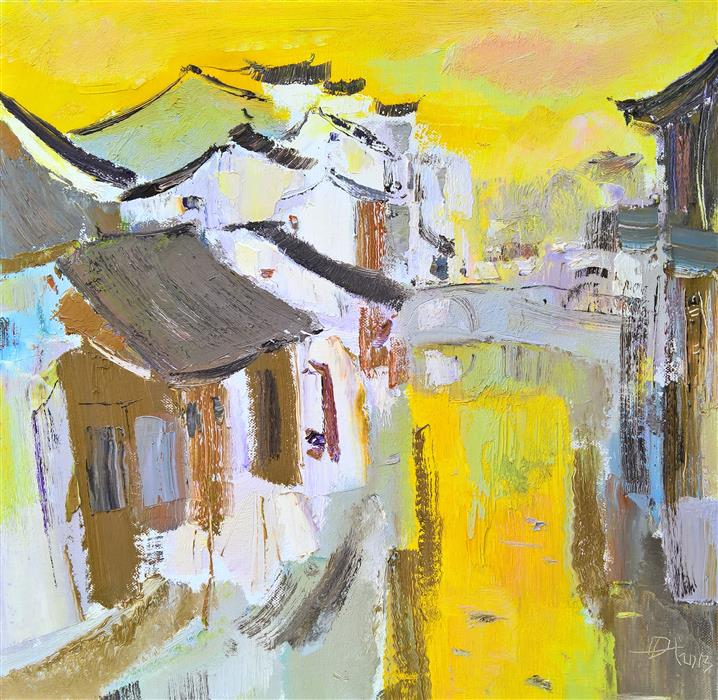 Original art for sale at UGallery.com | Memory of My Hometown: Watercity by YI TIAN | $1,375 | Oil painting | 20' h x 20' w | http://www.ugallery.com/oil-painting-memory-of-my-hometown-watercity