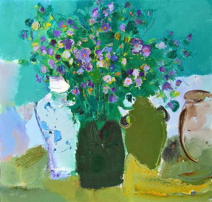 Original art for sale at UGallery.com | Flowers in Vase by YI TIAN | $1,100 | Oil painting | 20' h x 20' w | http://www.ugallery.com/oil-painting-flowers-in-vase
