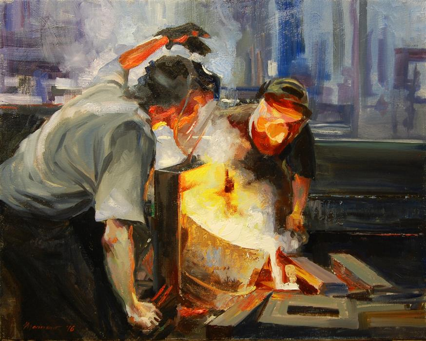 Original art for sale at UGallery.com | Guiding the Pour by ONELIO MARRERO | $675 | Oil painting | 16' h x 20' w | http://www.ugallery.com/oil-painting-guiding-the-pour