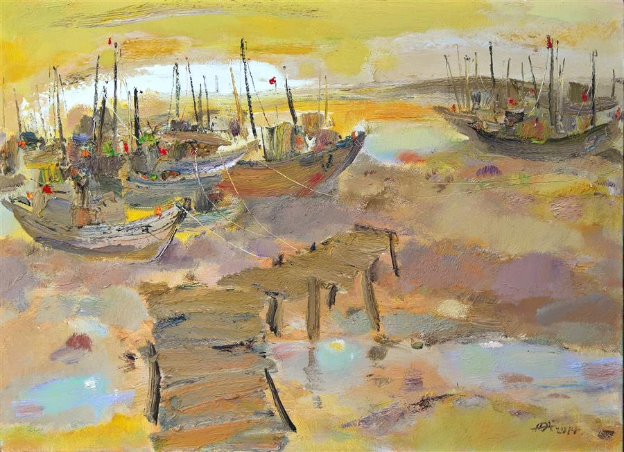 Original art for sale at UGallery.com | Boats in the Port 2 by YI TIAN | $1,300 | Oil painting | 26' h x 32' w | http://www.ugallery.com/oil-painting-boats-in-the-port-2