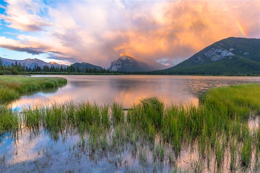 Original art for sale at UGallery.com | A Vermillion Lakes Sunset by ROSS LIPSON | $220 |  | ' h x ' w | http://www.ugallery.com/photography-a-vermillion-lakes-sunset