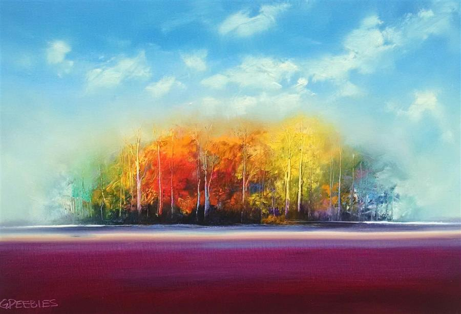 Discover Original Art by George Peebles | Autumn Plum oil painting | Art for Sale Online at UGallery