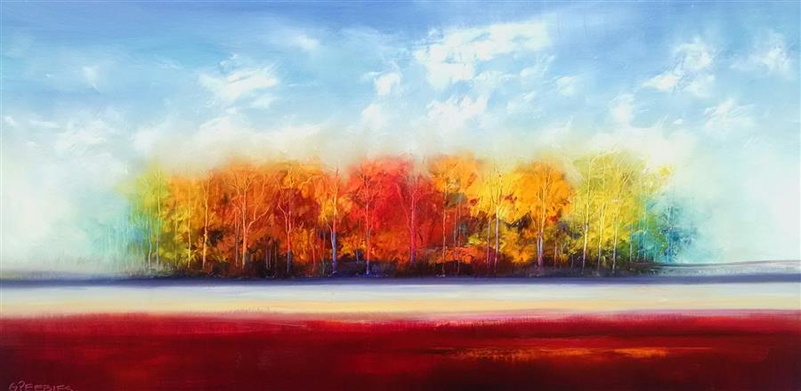 Original art for sale at UGallery.com | Autumn Red by GEORGE PEEBLES | $3,400 | Oil painting | 30' h x 60' w | http://www.ugallery.com/oil-painting-autumn-red