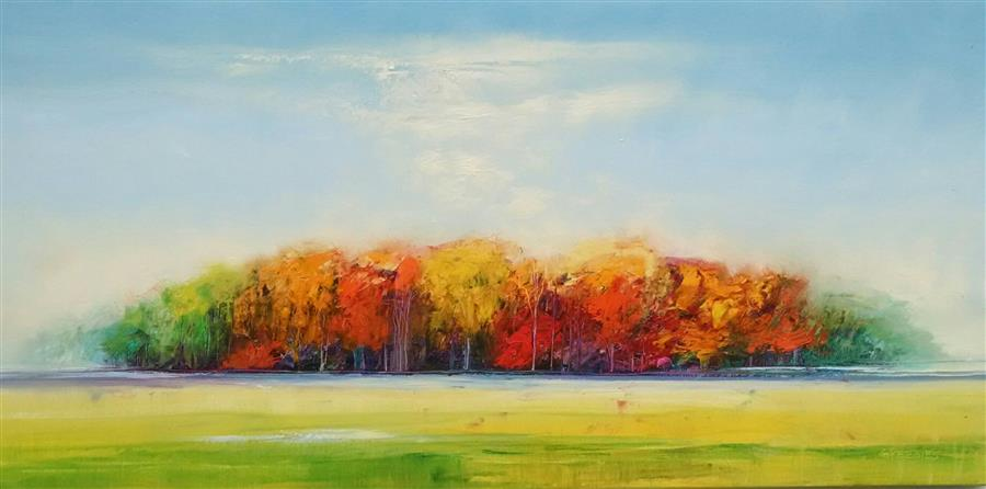 Original art for sale at UGallery.com | On a Walk by GEORGE PEEBLES | $4,600 | Oil painting | 30' h x 60' w | http://www.ugallery.com/oil-painting-on-a-walk