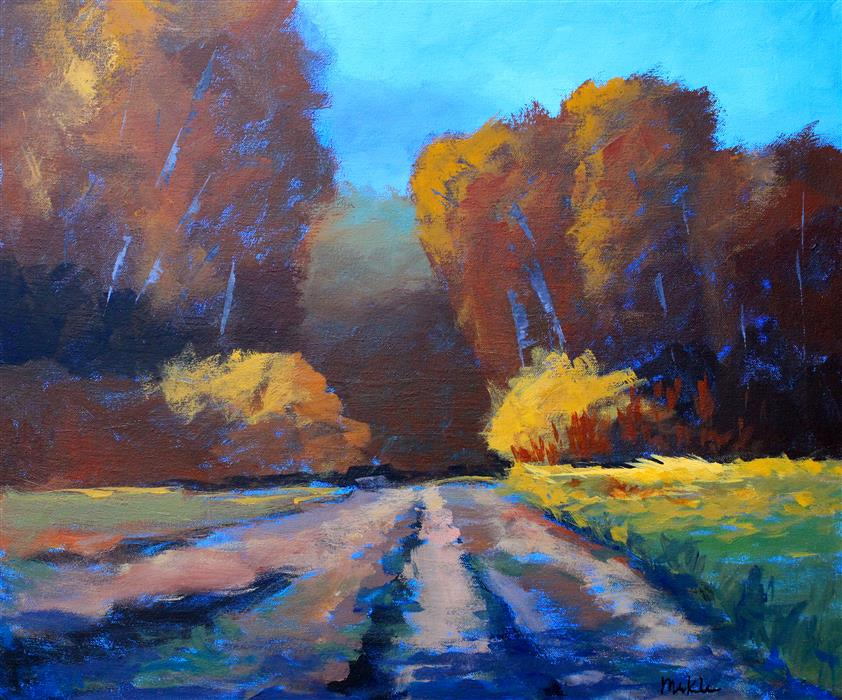 Discover Original Art by Nancy Merkle | Autumn Trek acrylic painting | Art for Sale Online at UGallery