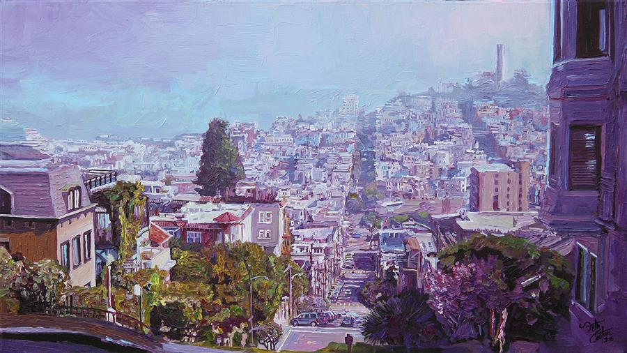 Original art for sale at UGallery.com | Magenta Morning from Lombard St by SETH COUTURE | $1,100 | Acrylic painting | 16' h x 28' w | http://www.ugallery.com/acrylic-painting-magenta-morning-from-lombard-st