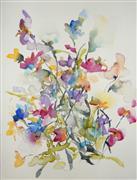 Nature art,Flora art,Representational art,watercolor painting,Sweet Pea Bouquet