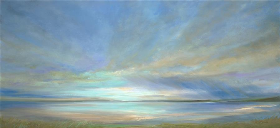 Original art for sale at UGallery.com | Glow on the Bay by SHEILA FINCH | $4,025 | Oil painting | 22.25' h x 48' w | http://www.ugallery.com/oil-painting-glow-on-the-bay