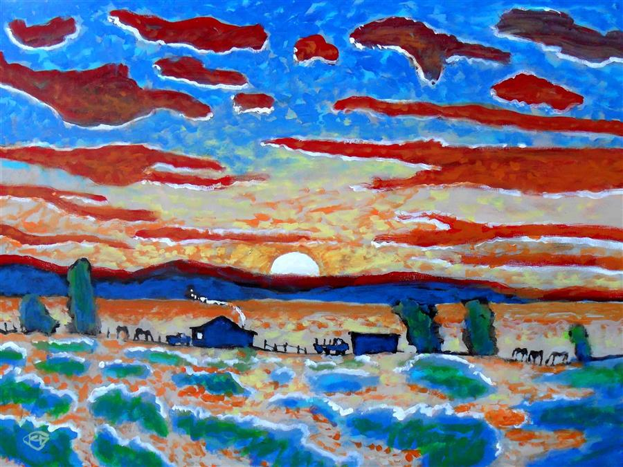 Original art for sale at UGallery.com | Hot Chili Sunrise by KIP DECKER | $2,675 | Acrylic painting | 30' h x 40' w | http://www.ugallery.com/acrylic-painting-hot-chili-sunrise