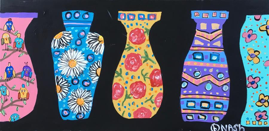 Original art for sale at UGallery.com | Four Vases by BRIAN NASH | $1,050 | Acrylic painting | 24' h x 48' w | http://www.ugallery.com/acrylic-painting-four-vases