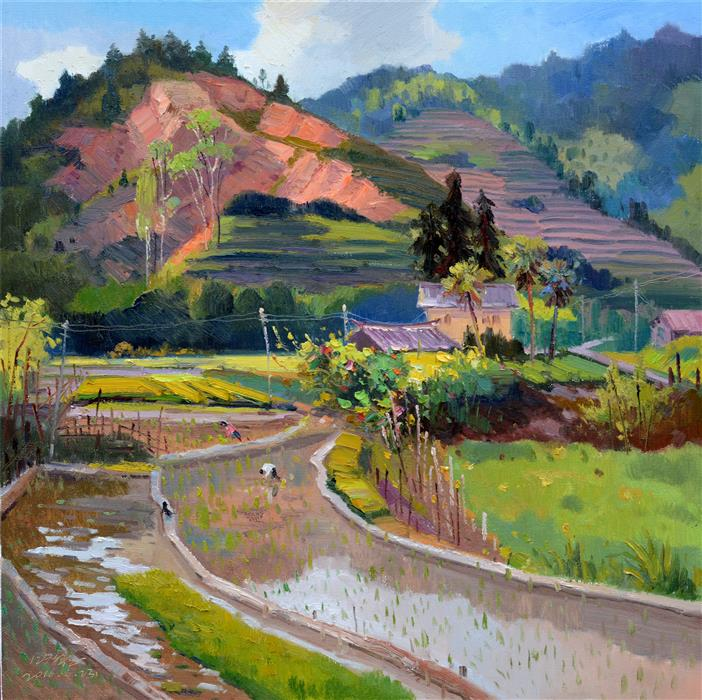 Original art for sale at UGallery.com | Chinese Rural Village 2 by SHENGNAN LI | $1,000 | Oil painting | 32' h x 32' w | http://www.ugallery.com/oil-painting-chinese-rural-village-2