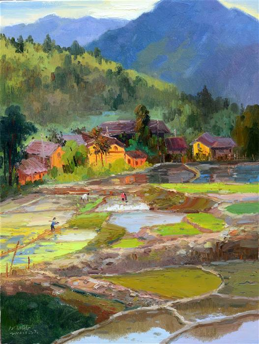Discover Original Art by Shengnan Li | Chinese Rural Village 3 oil painting | Art for Sale Online at UGallery