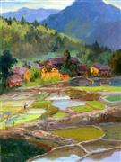 Impressionism art,Landscape art,Travel art,Representational art,oil painting,Chinese Rural Village 3