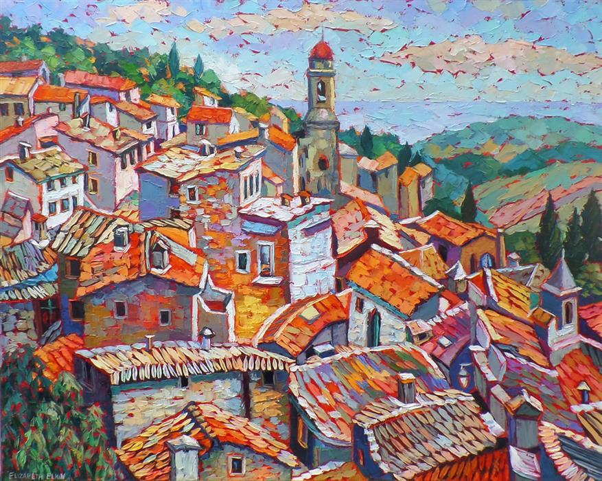 Original art for sale at UGallery.com | Rooftops, Provence by ELIZABETH ELKIN | $2,100 | Oil painting | 24' h x 30' w | http://www.ugallery.com/oil-painting-rooftops-provence