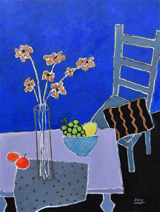 Discover Original Art by Feng Biddle | Still Life in Blue Room mixed media artwork | Art for Sale Online at UGallery