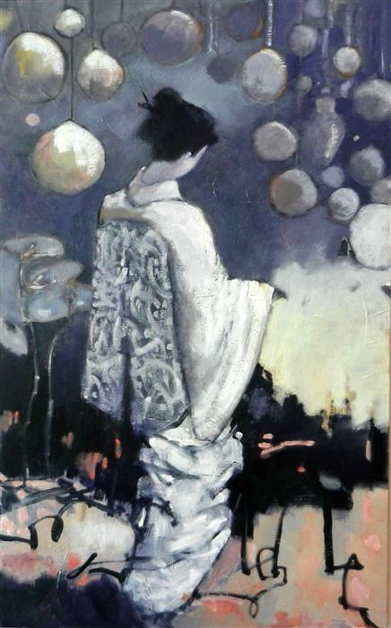 Discover Original Art by Mary Pratt | Geisha in White oil painting | Art for Sale Online at UGallery