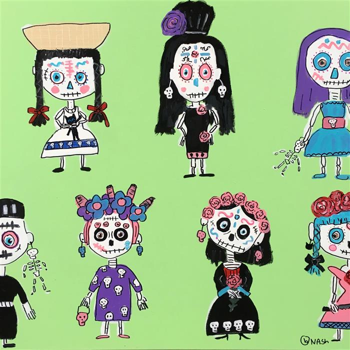 Discover Original Art by Brian Nash | Day of the Dead Dolls 1 acrylic painting | Art for Sale Online at UGallery