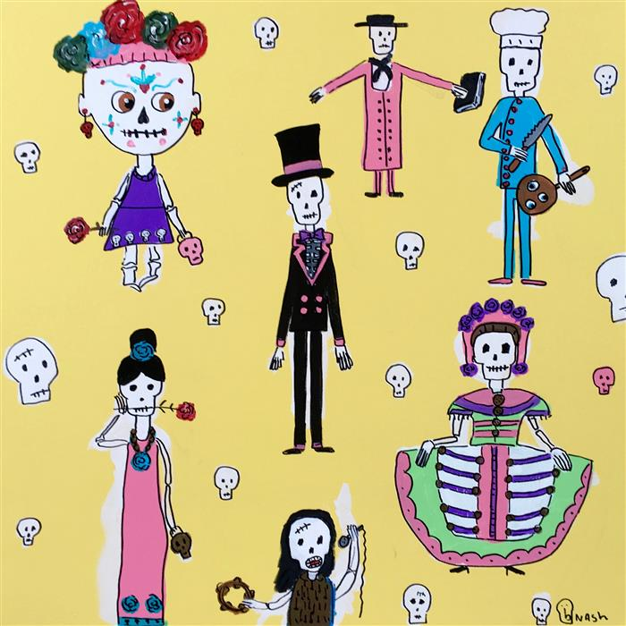Original art for sale at UGallery.com | Day of the Dead Dolls 2 by BRIAN NASH | $1,575 | Acrylic painting | 36' h x 36' w | http://www.ugallery.com/acrylic-painting-day-of-the-dead-dolls-2